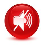 Mute volume icon glassy red round button Royalty Free Stock Image
