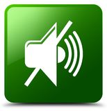 Mute volume icon green square button Royalty Free Stock Image