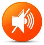 Mute volume icon orange round button Stock Image