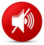 Mute volume icon red round button Royalty Free Stock Photos