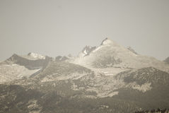 Muted Snowy Mountain Peaks. Yosemite Stock Image