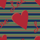 Muted Stripe Love Pattern. A hearts and stripes pattern with the word love on a muted, darkened colored background Vector Illustration