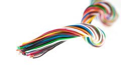 Muti-color electronic wire on white background Stock Photo