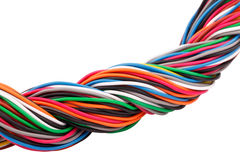 Muti-color electronic wire. On white background royalty free stock photo
