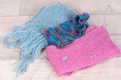 Muti colored knitted scarves Royalty Free Stock Photo