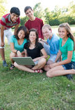 Muti-ethnic group of teens outside Stock Photo
