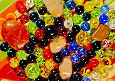 Muti-farbige Marmore auf Platte Lizenzfreie Stockfotos
