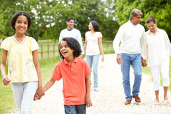 Muti-Generation Indian Family Walking In Countryside stock photo