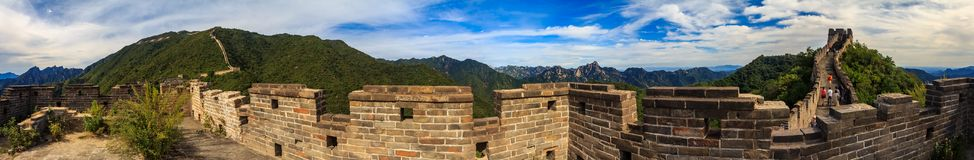 Panoramic view of the Great Wall of China and tourists walking on the wall in the Mutianyu stock images