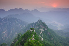 Mutianyu Great Wall in China. The Arrow buckle the Great Wall is the part of Mutianyu Great Wall in Beijing Huairou,it is the famous part of the Great Wall that stock photo