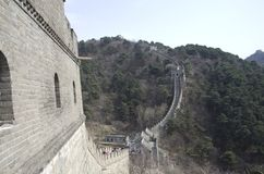 Mutianyu Great Wall spring time. Mutianyu was built in Ming Dynasty. It is popular for China visitors royalty free stock photo