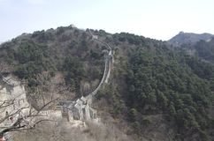 Mutianyu Great Wall spring time. Mutianyu was built in Ming Dynasty. It is popular for China visitors stock photo