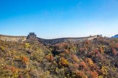 Mutianyu sida av den stora väggen av Kina arkivfoton