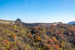 Mutianyu sida av den stora väggen av Kina arkivbild