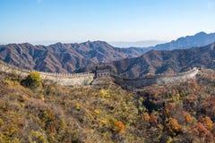 Mutianyu sida av den stora väggen av Kina fotografering för bildbyråer