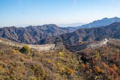 Mutianyu sida av den stora väggen av Kina royaltyfri fotografi