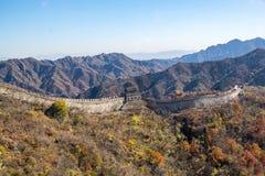 Mutianyu sida av den stora väggen av Kina royaltyfria foton