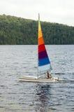 Muticolored catamaran. Catamaran 'senior sailing on a lake Stock Image