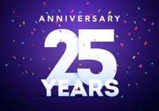 25 mutige Zahlen des Jahrestages mit bunten Konfettis Jahrestagsereignis-Parteischablone der Feier 25. vektor abbildung