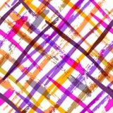 Mutiges Plaidmuster des nahtlosen Aquarells mit buntem Diagonalst. Stockbilder