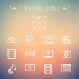 Mutimedia thin line icon set. Multimedia thin line icon set for web and mobile. Set includes- phonograph, video ca, camerta, clapboard, film, strips, cloud Royalty Free Stock Image