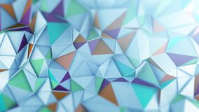 Mutlicolor low poly 3D surface abstract render. Polygonal coloful surface chaotic displaces. Abstract geometric trendy background. 3D render illustration Stock Photo