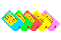 Mutlicolored SIM Cards Royalty Free Stock Photography