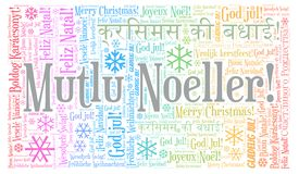 Mutlu Noeller word cloud - Merry Christmas on Turkish language and other different languages. Mutlu Noeller word cloud - Merry Christmas on Turkish language vector illustration