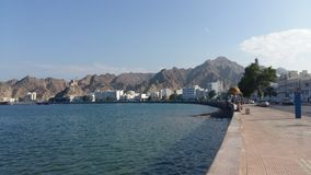 Mutrah harbour. Taken from al bahri road showing mutrah castle Stock Photos