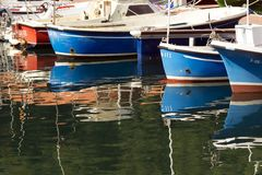 MUTRIKU, SPAIN - SEPTEMBER 06, 2014: view of fish boats in the port of Mutriku stock image