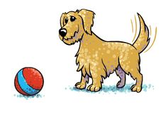 Mutt Waiting For A Ball To Play With Him vector illustration