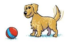 Mutt Waiting For en boll som spelar med honom vektor illustrationer