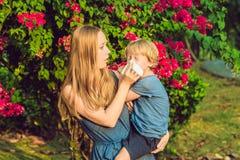 Mutter betrachtet seinen Sohn, der zum Blütenstaub allergisch ist lizenzfreies stockbild