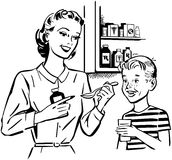 Mutter, die dem Sohn Medizin gibt stock abbildung