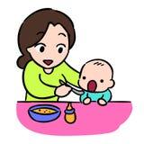 Mutter, die ihr Schätzchen durch Löffel speist stock abbildung