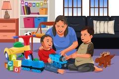Mutter, die mit ihren Kindern spielt lizenzfreie abbildung