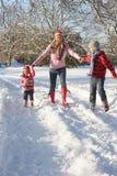 Mutter, die mit Kindern durch Snowy Landsca geht Stockfotos