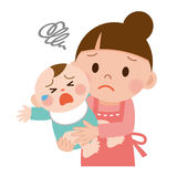 Mutter, die versucht, ihr schreiendes Baby zu beruhigen lizenzfreie abbildung