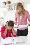 Mutter, die weg Tochter für schlechtes Schulzeugnis erklärt Stockbild