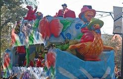 Mutter Gans auf der Front von Mardi Gras Float lizenzfreie stockbilder