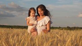 Mutter geht mit dem Baby in den Feldgriffährchen mit Weizen in der Hand Mutter und kleiner Tochterweg auf einem Feld von stock video