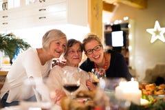 Mutter, Großmutter und Tochter, die Weihnachten feiern stockfotos