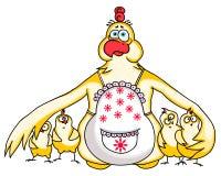 Mutter-Huhn schützt ihre Hühner Lustiges Karikaturbild für Mutter ` s Tag Lizenzfreie Stockfotografie