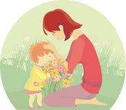 Mutter küsst Baby lizenzfreie abbildung