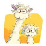 Mutter-Lama und ihr Baby lizenzfreie stockfotos