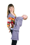 Mutter mit Baby im Riemen lizenzfreies stockbild