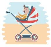 Mutter mit Baby im Spaziergänger Junge Mutter, die Baby im Pram mit Milchflasche drückt Stockfoto