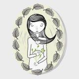 Mutter mit den Augen geschlossen und den Blättern Lizenzfreies Stockbild