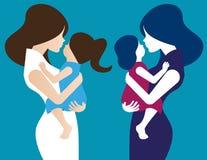 Mutter mit ihrem Baby Konzept-Mutter-Tagesillustration Vektor wo Lizenzfreies Stockfoto