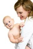 Mutter mit ihrem Schätzchen Stockbild